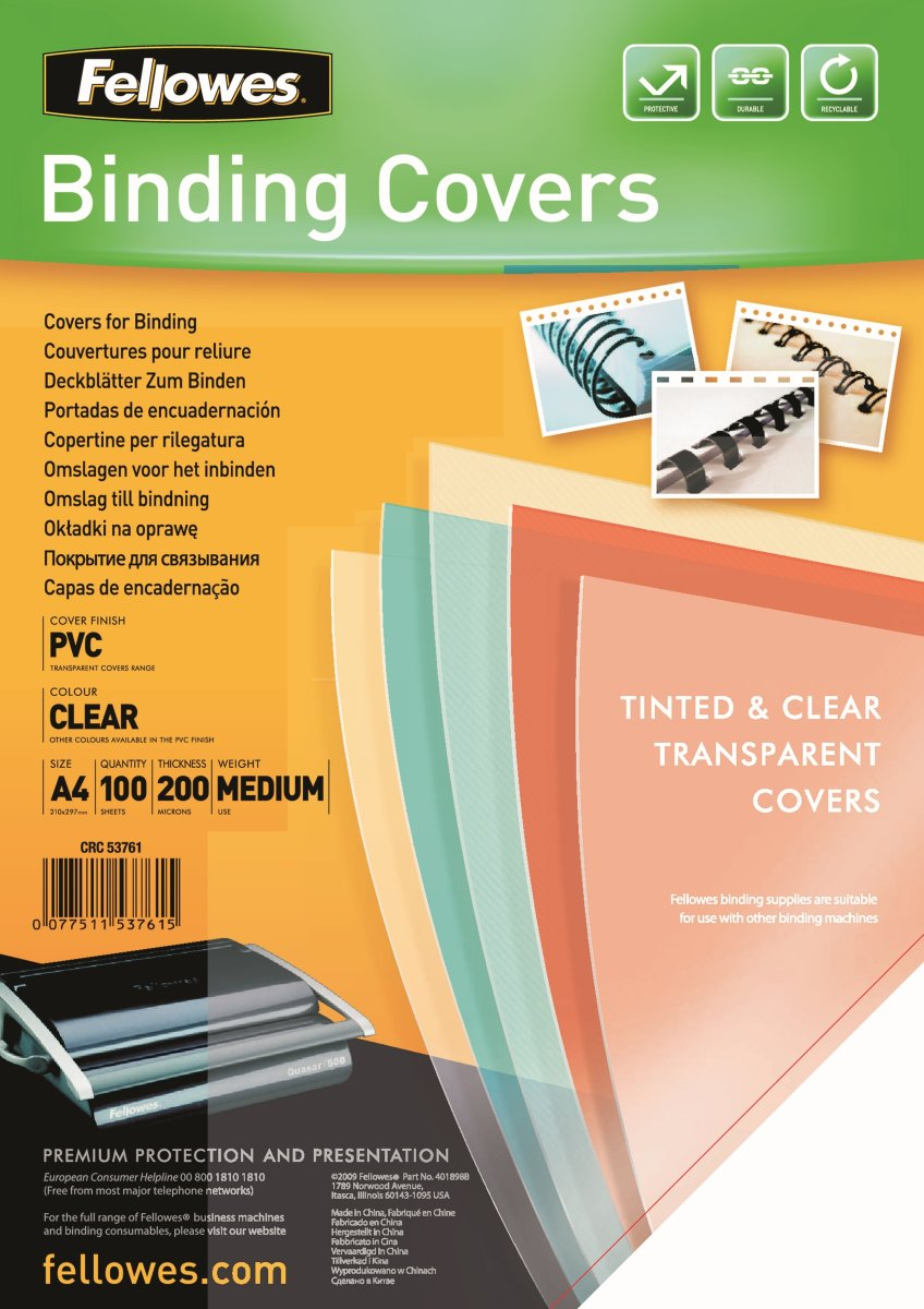 Fellowes gennemsigtig PVC Covers – A4, 200 mikron