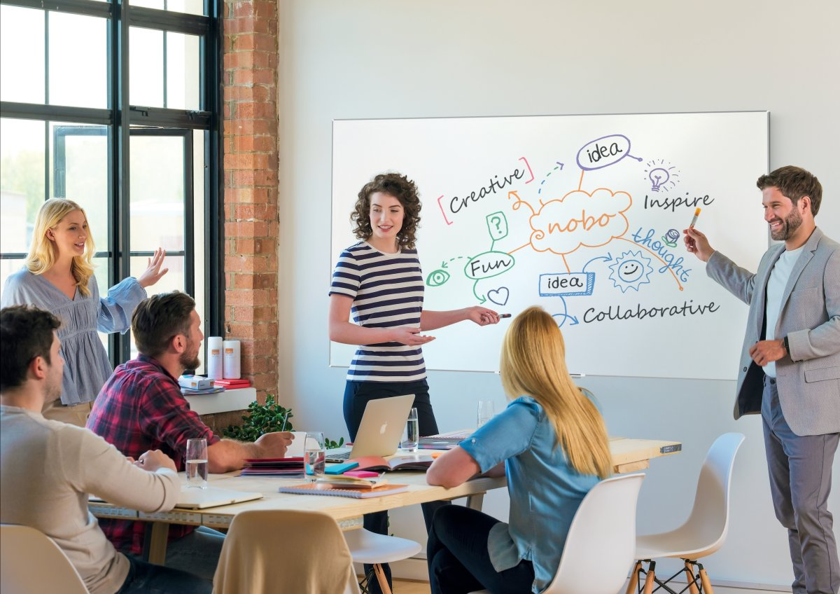 Nobo widescreen NanoClean whiteboard i hvid, 32""
