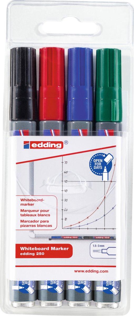 Edding 250 Whiteboard Marker, 4 stk.