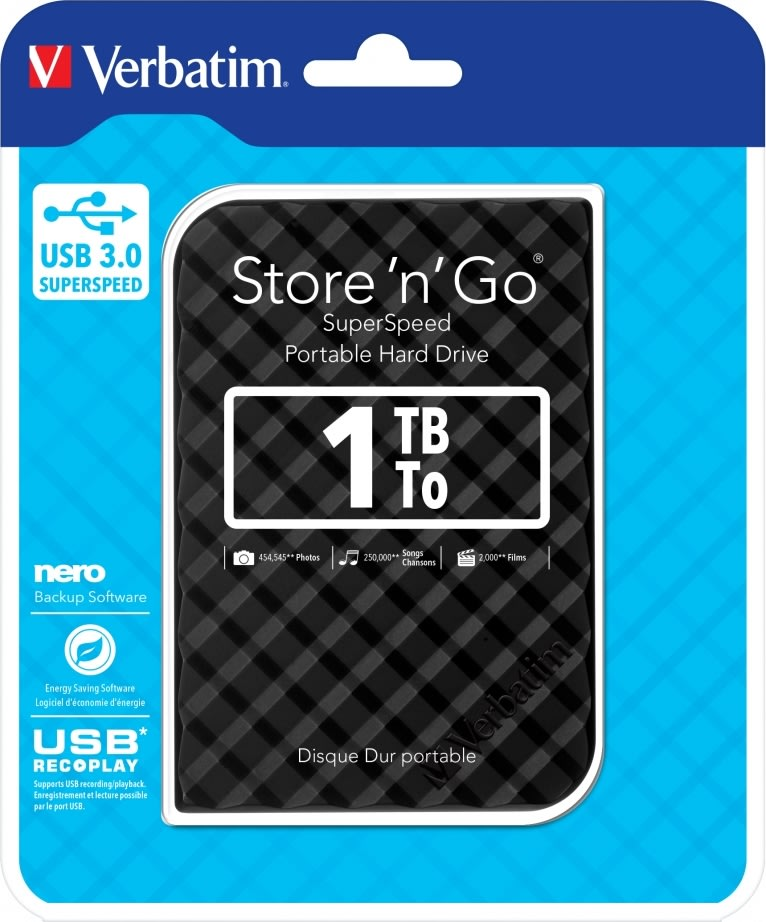 """Verbatim Store 'N' Go 2,5"""" 1TB USB 3.0, sort"""