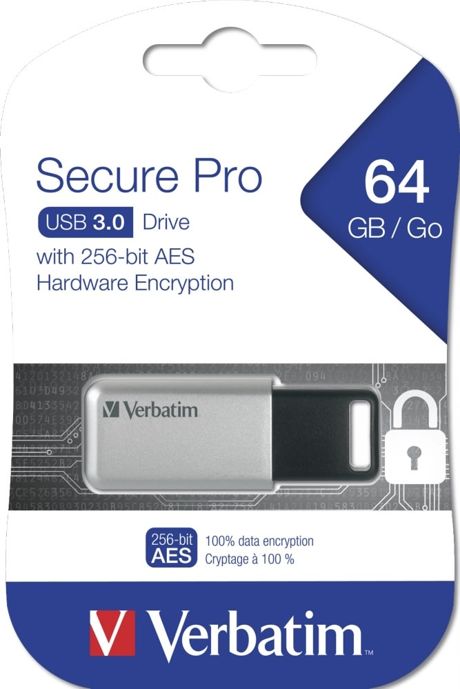 Verbatim USB 3.0 Secure Data Pro 64GB, Sølv