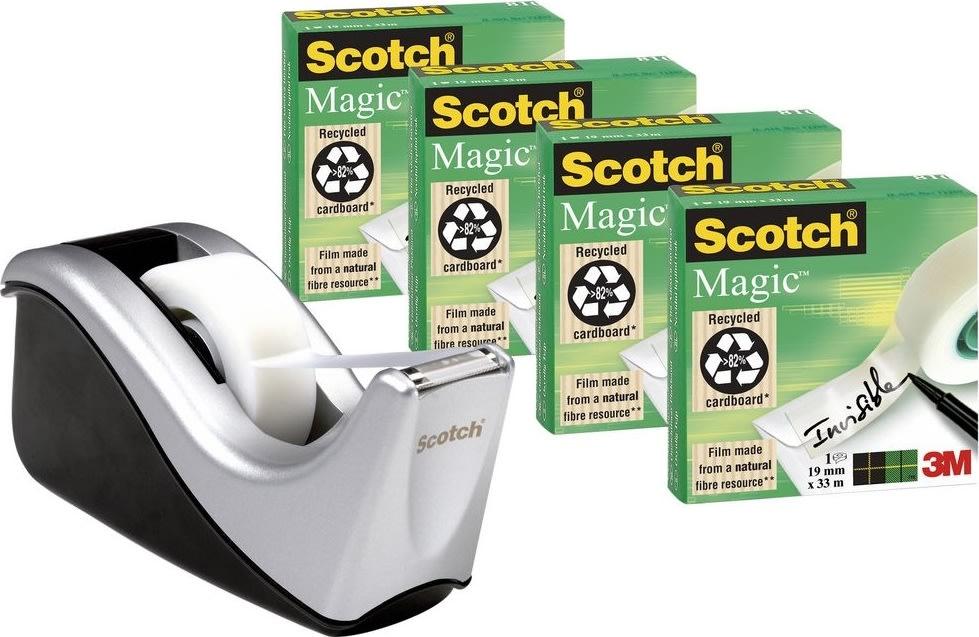 Scotch Magic 4 rl. tape + 1stk dispenser sølv/sort