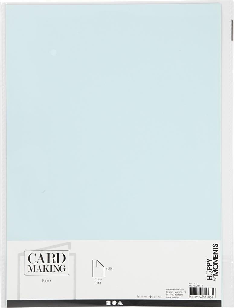 Happy Moments Papir, A4, 70g, 20 ark, lyseblå