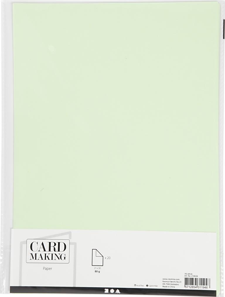 Happy Moments Papir, A4, 70g, 20 ark, lys grøn