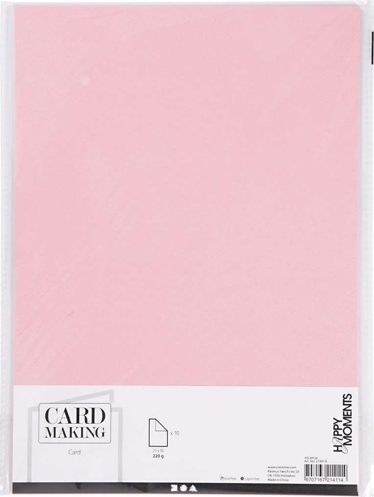 Happy Moments Karton, A4, 220g, 10 ark, lyserød