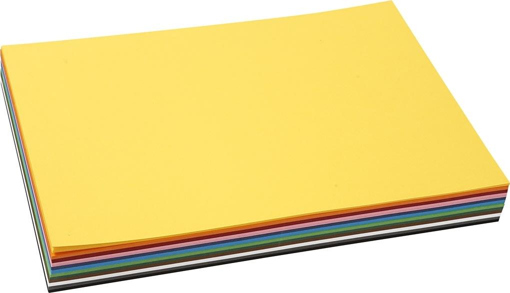 Colortime Karton, A4, 180g, 120 ark, ass. farver