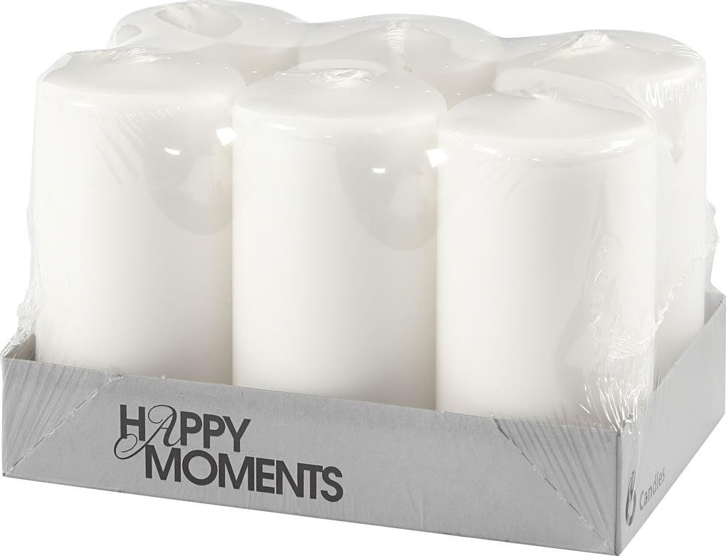 Happy Moments Bloklys, 5 x 10 cm, hvid, 6 stk