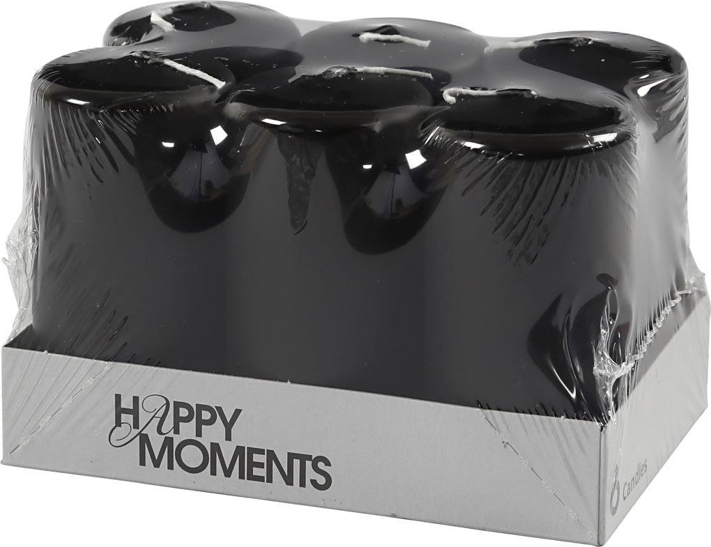 Happy Moments Bloklys, 5 x 10 cm, sort, 6 stk