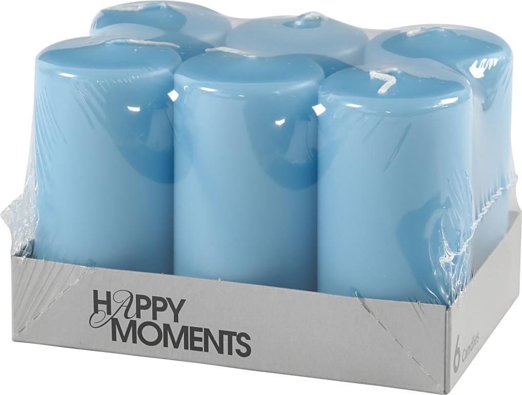Happy Moments Bloklys, 5 x 10 cm, lyseblå, 6 stk