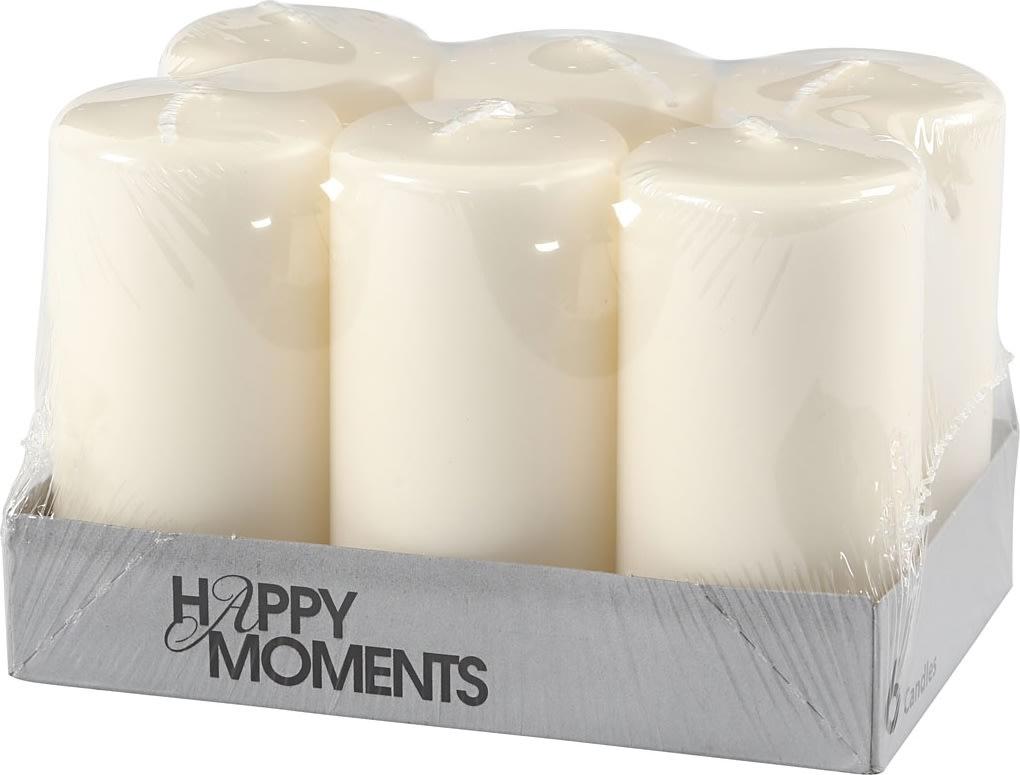 Happy Moments Bloklys, 5 x 10 cm, råhvid, 6 stk