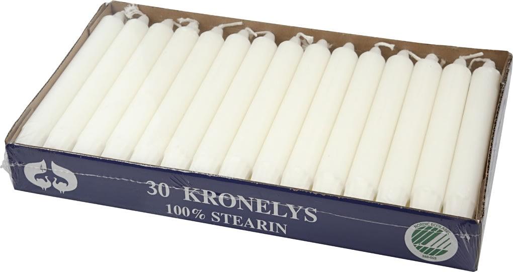 Kronelys i ren stearin, 2,3 x 20 cm, hvid, 30 stk