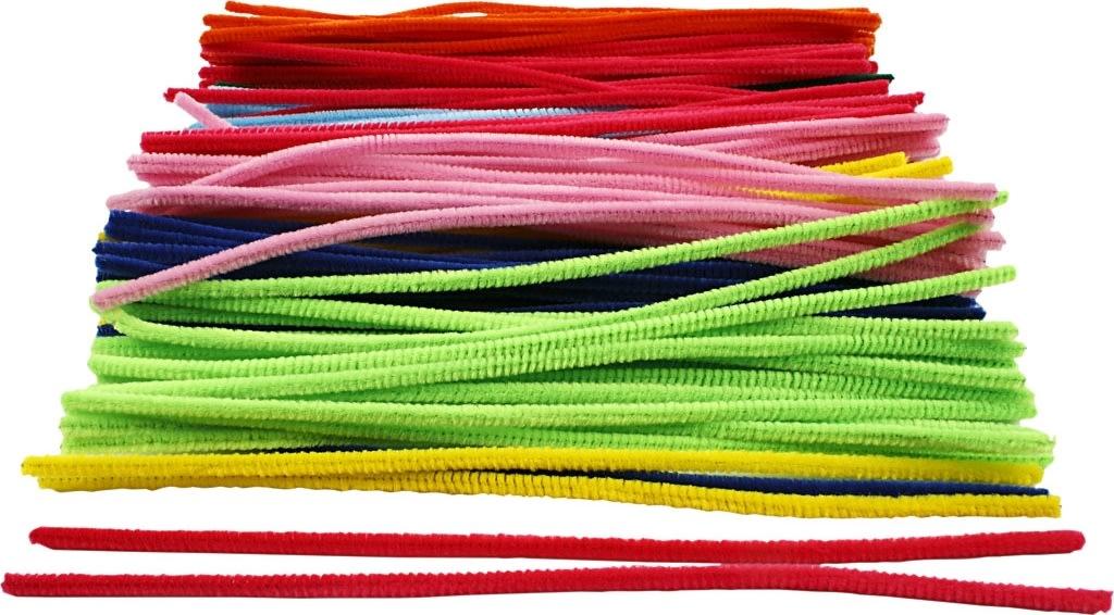 Chenille Piberensere 6 mm, ass. farver, 200 stk