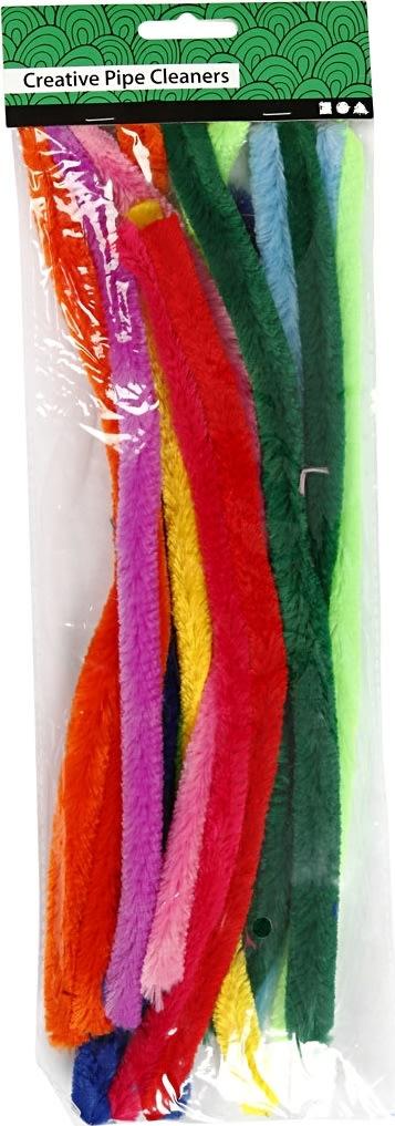 Chenille Piberensere 9 mm, ass. farver, 25 stk
