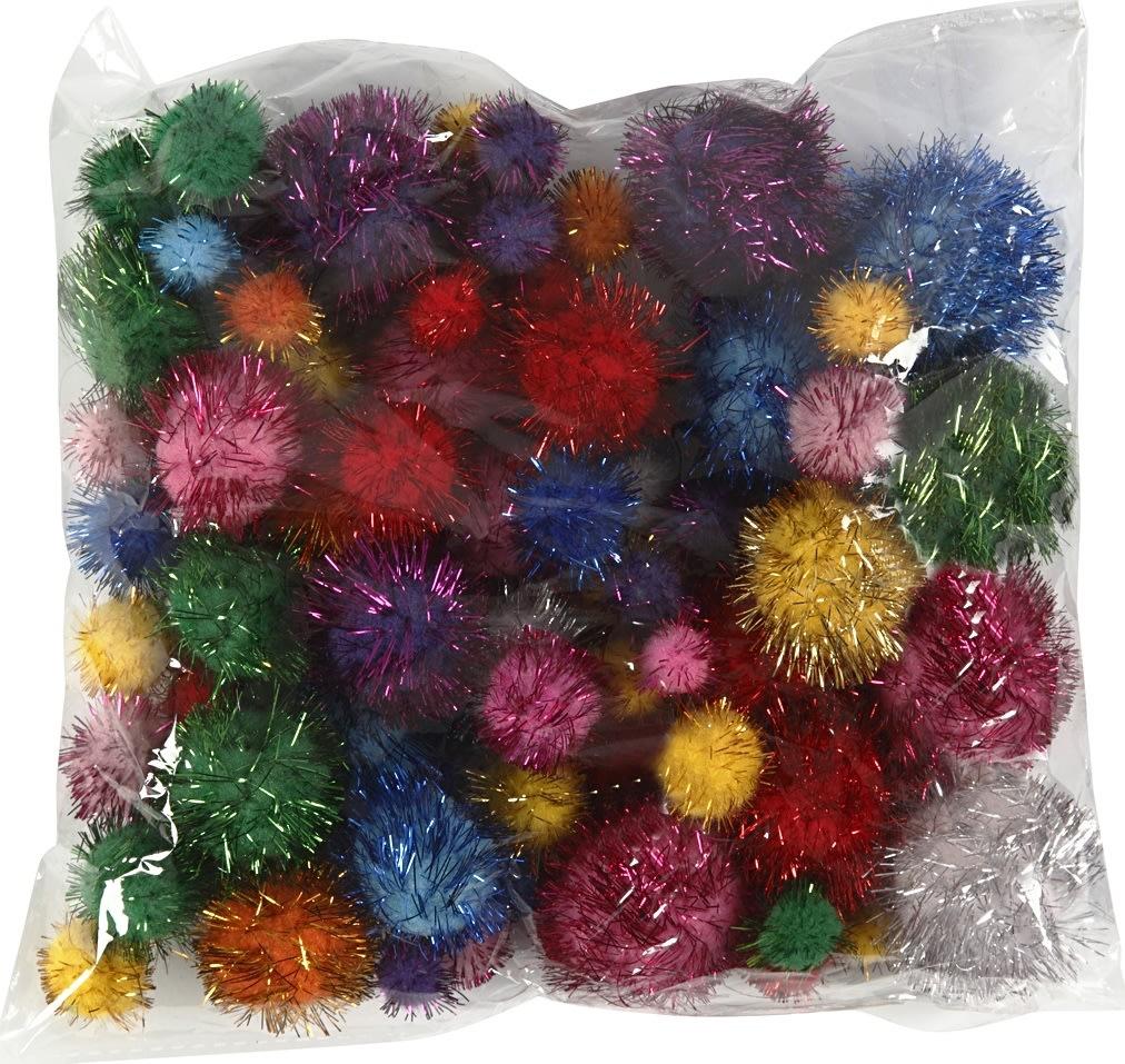 Pomponer 15-40 mm, ass. glitterfarver, 75 stk