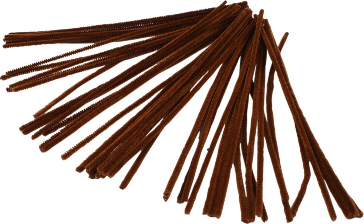 Chenille Piberensere 6 mm, brun, 50 stk