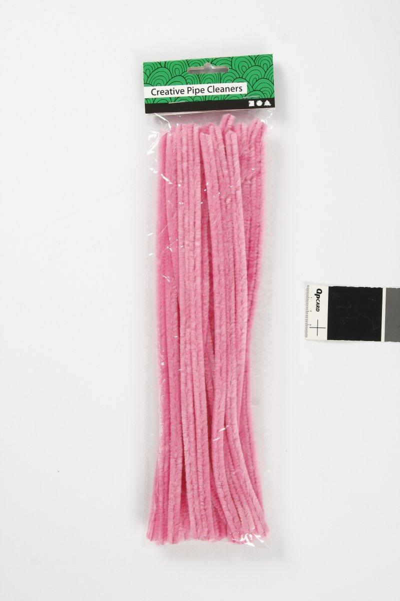 Chenille Piberensere 9 mm, pink, 25 stk