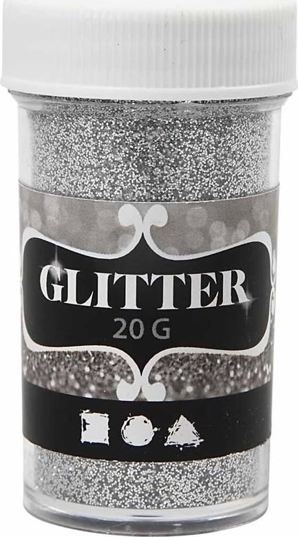 Glitterdrys, sølv, 20 g