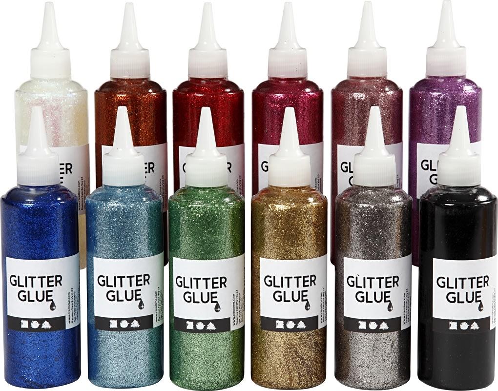 Glitterlim, ass. farver, 12x118 ml