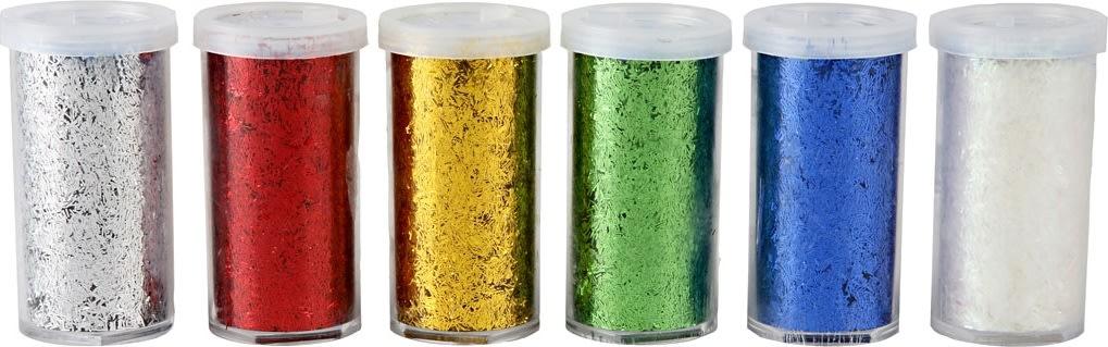 Fiber Glitter, ass. metallic farver, 6x20 g