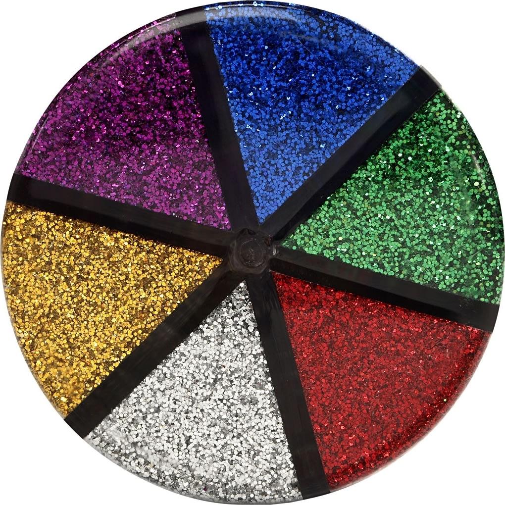 Glitterdrys, standardfarver, 6x13 g