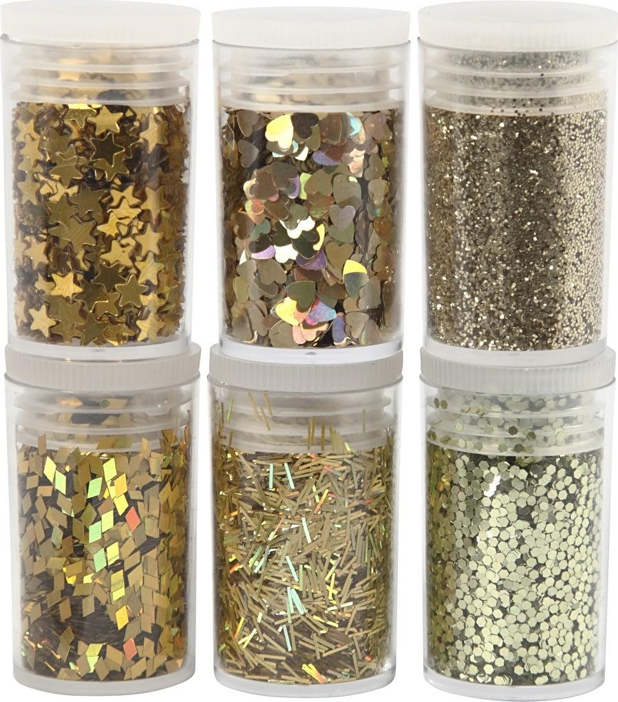 Glitter og Pailletter, guld, 6x5 g