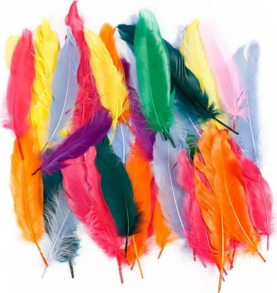 Indianerfjer 12-15 cm, ass. farver, 350 stk