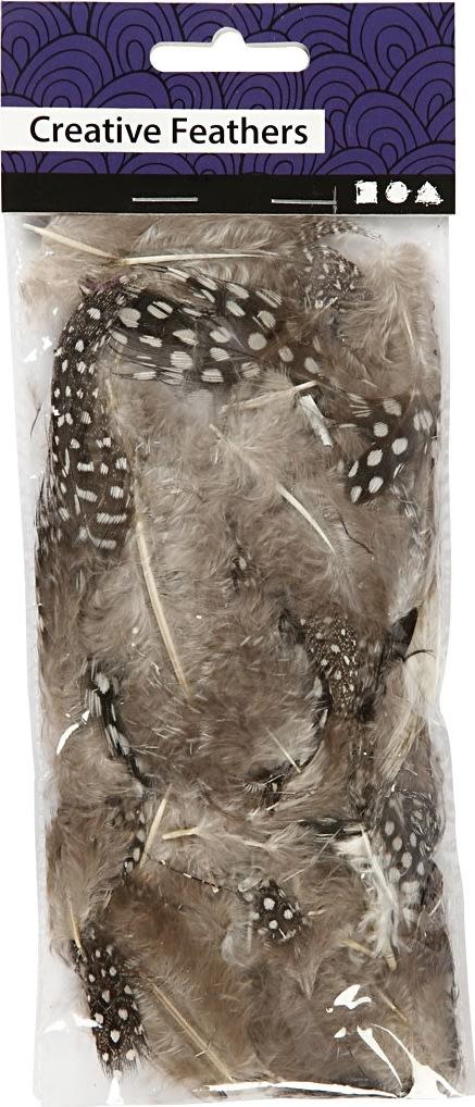 Perlehønsfjer, brun/natur, 100 stk