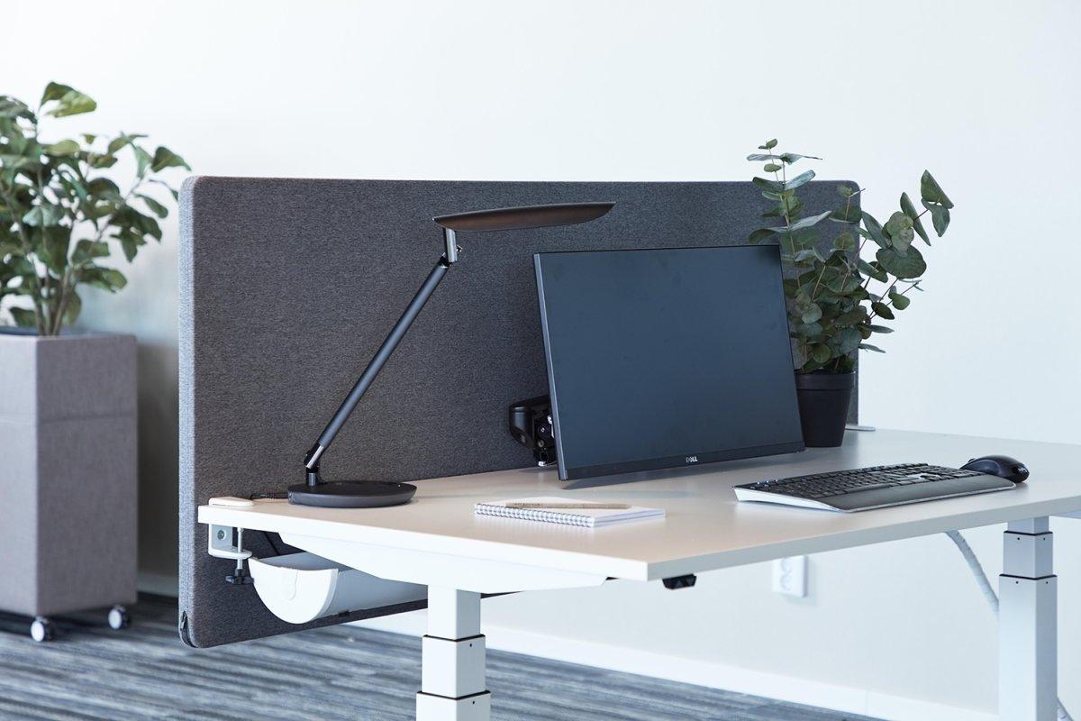 Silent Express bordskærmvæg, 140x65 cm, lysegrå