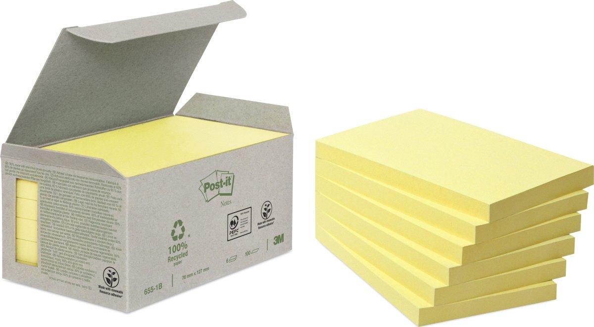 Post-it Green Notes 76 x 127 mm, genbrug, gul