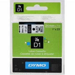 Dymo D1 labeltape 24mm, sort på hvid