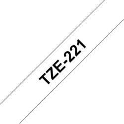 Brother TZe-221 labeltape 9mm, sort på hvid