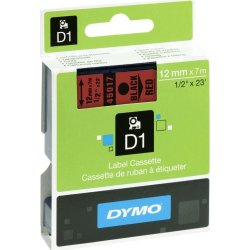 Dymo D1 labeltape 12mm, sort på rød