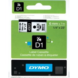 Dymo D1 labeltape 6mm, sort på hvid