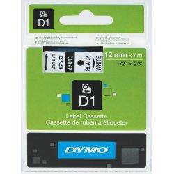 Dymo D1 labeltape 12mm, sort på hvid