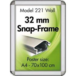Alu Plakatramme, Snap-frame, 70 x 100 cm, Alu/sølv