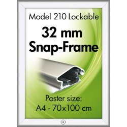 Alu Plakatramme m/ Lås, Snap-frame, 50x70, Sølv