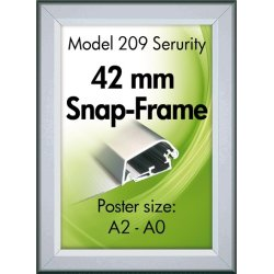 Alu Plakatramme, Security Snap-frame, 50x70, Sølv