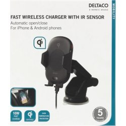 DELTACO hurtig trådløs oplader med IR sensor, 10W