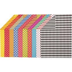 Colortime Mønstret Karton, A4, 250g, 20 ark, ass.