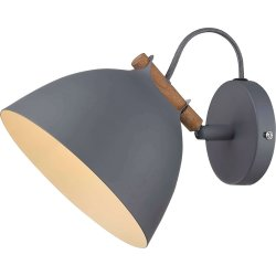 Århus væglampe, Ø 18 cm, Grå/træ