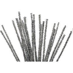 Chenille Piberensere 6 mm, sølv, 24 stk
