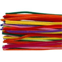 Chenille Piberensere 6 mm, ass. farver, 50 stk