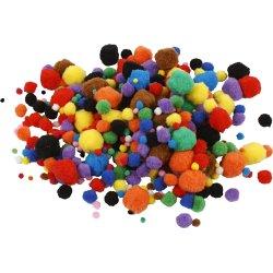 Pomponer 5-40 mm, ass. farver, 150 stk