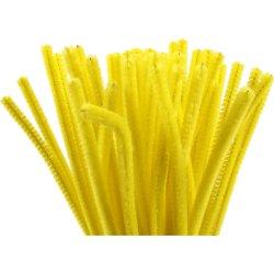 Chenille Piberensere 6 mm, gul, 50 stk