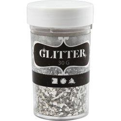 Glitterflager, sølv, 30 g