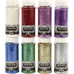 Glitterdrys, ass. farver, 8x110 g