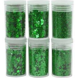 Glitter og Pailletter, grøn, 6x5 g