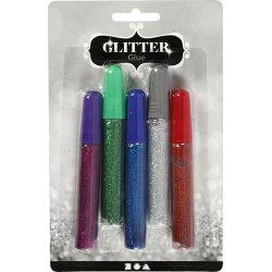 Glitterlim, ass. farver, 5x10 ml
