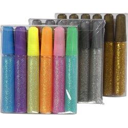 Glitterlim, ass. farver, 24x10 ml