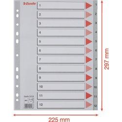 Esselte register A4, 1-12, plast, grå
